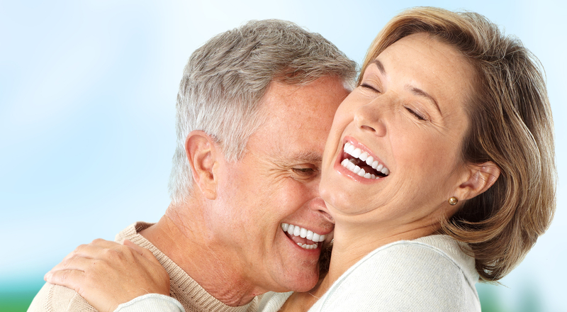 A happy couple with dentures